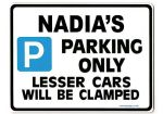 NADIA'S Personalised Parking Sign Gift | Unique Car Present for Her |  Size Large - Metal faced